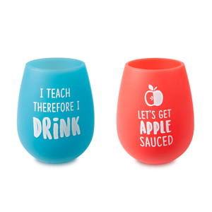 Apple Sauced by Livin' on the Wedge - 13 oz Silicone Wine Glasses (Set of 2)