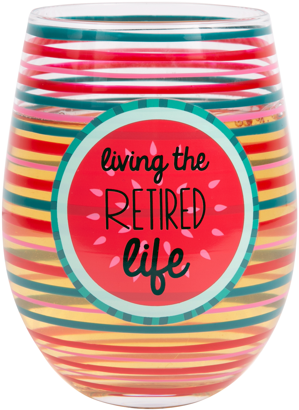 Retired by Livin' on the Wedge - Retired - 18 oz Crystal Stemless Wine Glass