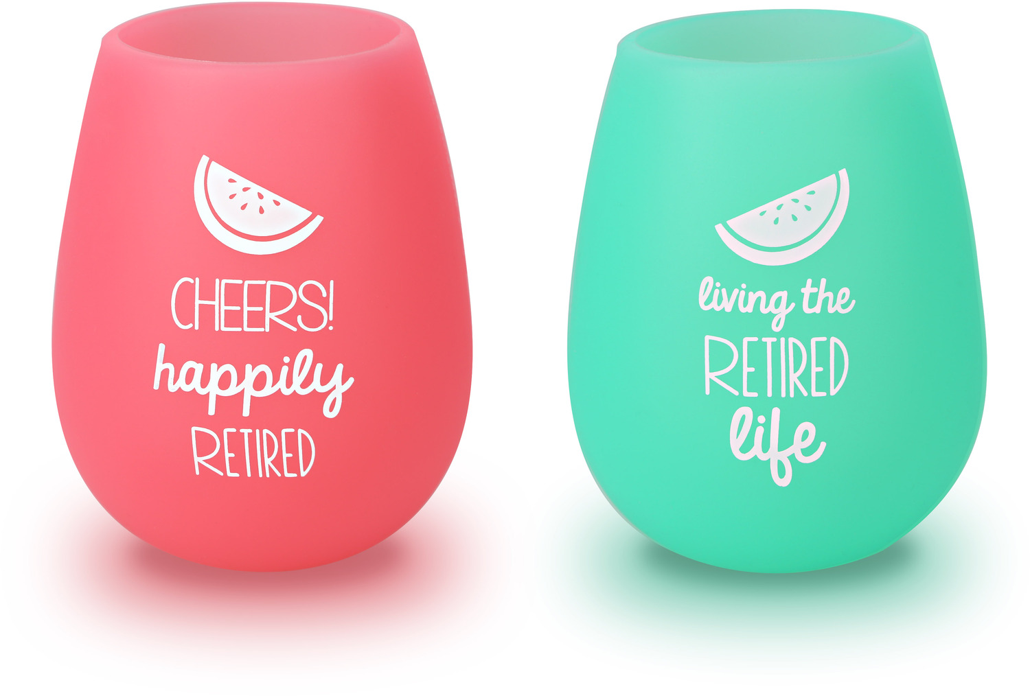 Happily Retired by Livin' on the Wedge - Happily Retired - 13 oz Silicone Wine Glasses (Set of 2)