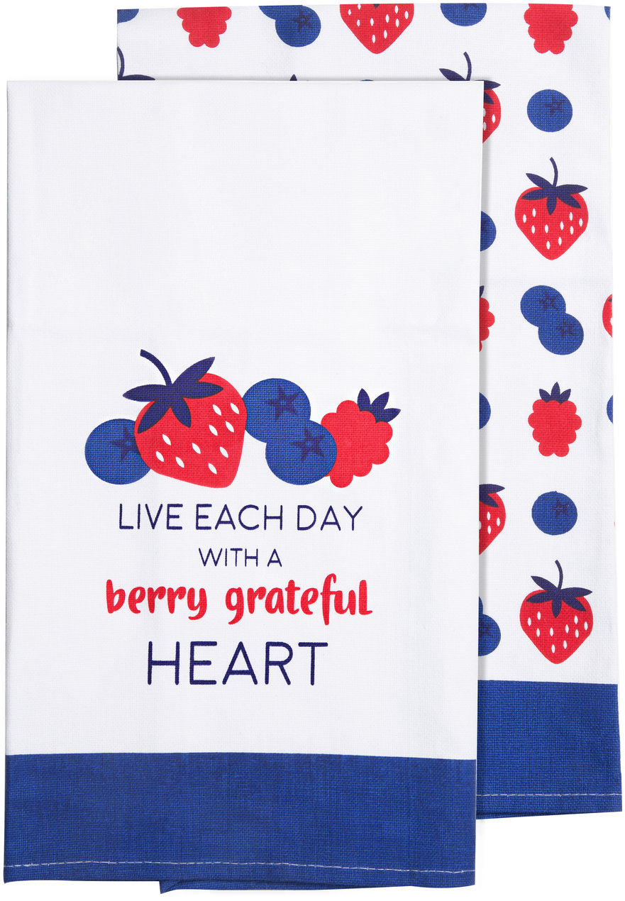 "Berry Grateful  by Livin' on the Wedge - Berry Grateful  - Tea Towel Gift Set (2 - 19.75"" x 27.5"")"