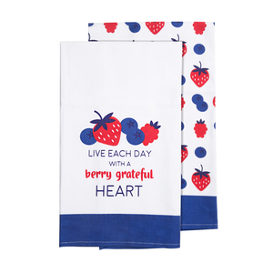 "Berry Grateful  by Livin' on the Wedge - Tea Towel Gift Set (2 - 19.75"" x 27.5"")"