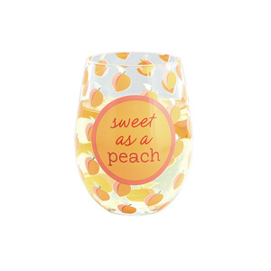 Sweet as a Peach by Livin' on the Wedge - 18 oz Stemless Wine Glass