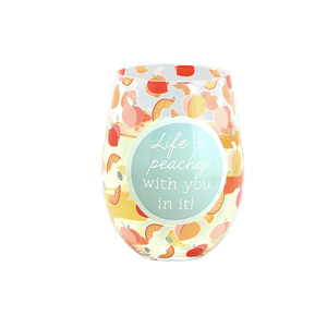 Life's Peachy by Livin' on the Wedge - 18 oz Stemless Wine Glass