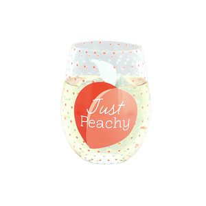 Just Peachy by Livin' on the Wedge - 18 oz Stemless Wine Glass