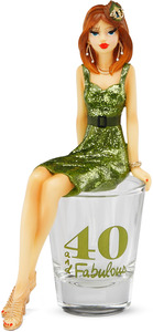 "40 and Fabulous by Hiccup - 5.25"" Girl in Shot Glass"