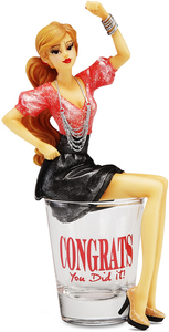 "Congrats You Did It! by Hiccup - 5.75"" Girl in Shot Glass"