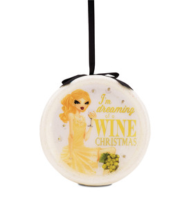 Dreaming of a Wine Christmas by Hiccup - 120mm Blinking Ornament
