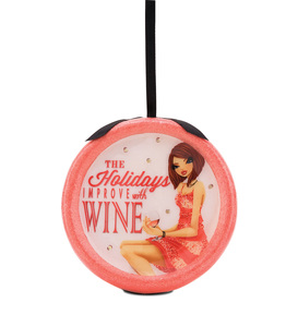 Holidays Improve with Wine by Hiccup - 120mm Blinking Ornament