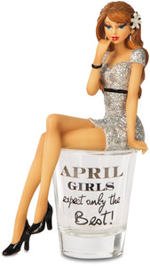 "April by Hiccup - 5.75"" Girl in Shot Glass"