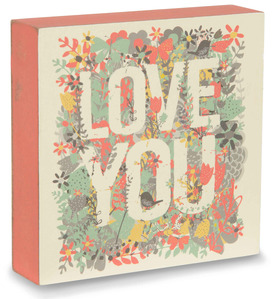 "Love You by Bloom by Amylee Weeks - 4"" x 4"" Colorful Nature Plaque"