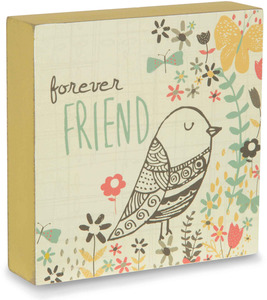 "Forever Friend by Bloom by Amylee Weeks - 4"" x 4"" Bird & Flower Plaque"