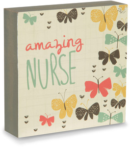 "Amazing Nurse by Bloom by Amylee Weeks - 4"" x 4"" Plaque"