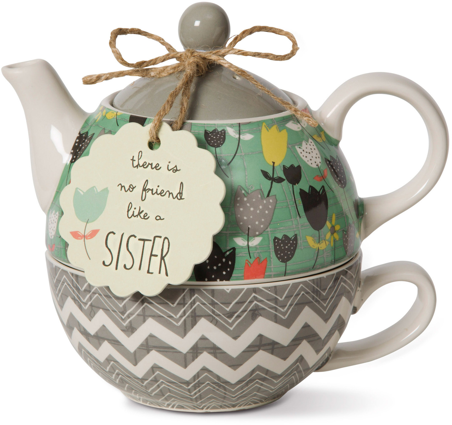 Sister by Bloom by Amylee Weeks - <em>Sister</em> - Teapot & Cup Combo -