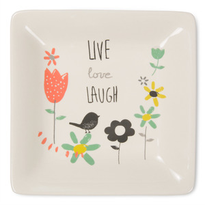 "Live Love Laugh by Bloom by Amylee Weeks - 4.5"" Ceramic Keepsake Dish"