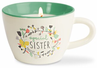 Sister by Bloom by Amylee Weeks - 5.7 oz. Soy Wax Teacup Candle Scent: Serenity