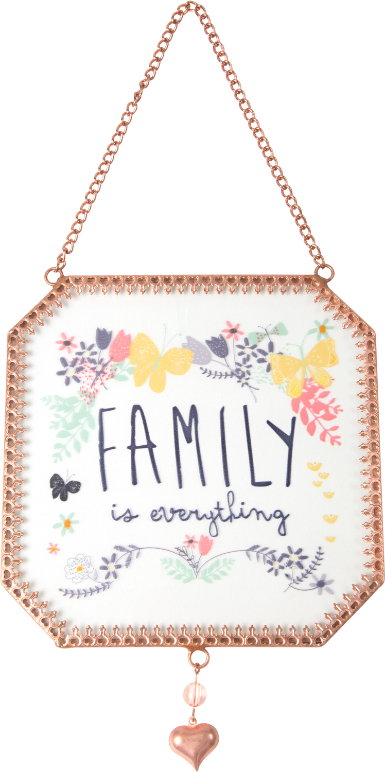 "Family by Bloom by Amylee Weeks - Family - 5"" x 5"" Glass Sun Catcher"