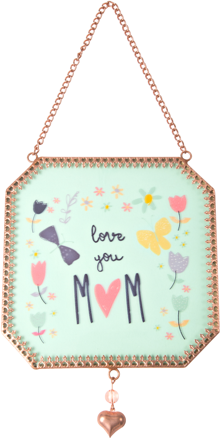 "Mom by Bloom by Amylee Weeks - Mom - 5"" x 5"" Glass Sun Catcher"