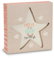 "Beach by Seaside Bloom - 4.5"" x 4.5"" Plaque"