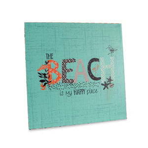 "Beach by Seaside Bloom - 9"" Canvas Plaque"
