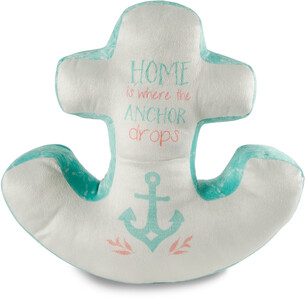 "Home by Seaside Bloom - 17"" x 16"" Micromink Anchor Pillow"