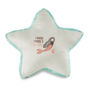 "Mermaid by Seaside Bloom - 14.5"" x 12.5"" Micromink Star Pillow"