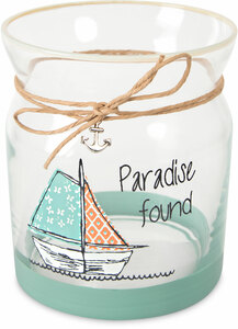 "Paradise by Seaside Bloom - 4"" Glass Tea Light Holder"