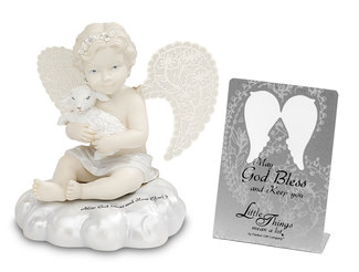 "May God Bless and Keep You by Little Things Mean A Lot - 3.5"" Cherub Holding a Lamb"