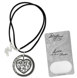 "Love Necklace by Little Things Mean A Lot - With 1.5"" Heart Pendant"