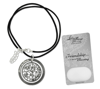 "Friend Necklace by Little Things Mean A Lot - With 1.5"" Circle Pendant"