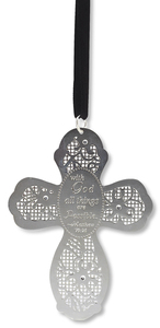 "With God by Little Things Mean A Lot - 3.5"" Cross Ornament"