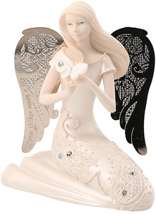 "April Birthstone Angel by Little Things Mean A Lot - 3.5"" April Angel w/ Diamond Butterfly"