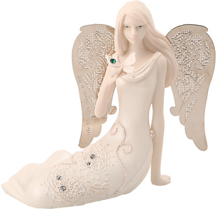 "May Birthstone Angel by Little Things Mean A Lot - 3.5"" May Angel w/ Emerald Butterfly"