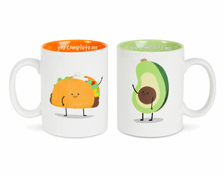 Taco and Avocado by Late Night Snacks - 18 oz Mug Set