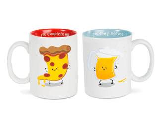 Beer and Pizza by Late Night Snacks - 18 oz Mug Set