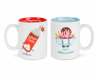 Ice Cream and Whipped Cream by Late Night Snacks - 18 oz Mug Set