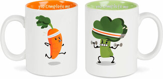 Carrot and Broccoli by Late Night Snacks - 18 oz Mug Set