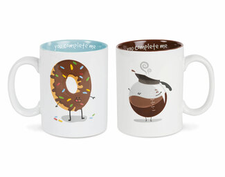 Coffee and Donut by Late Night Snacks - 18 oz Mug Set
