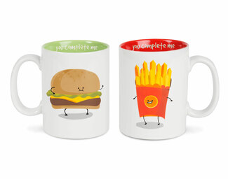 Cheeseburger and Fries by Late Night Snacks - 18 oz Mug Set