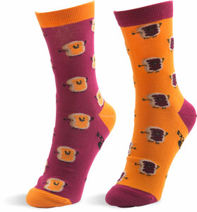 Peanut Butter and Jelly by Late Night Snacks - S/M Unisex Socks