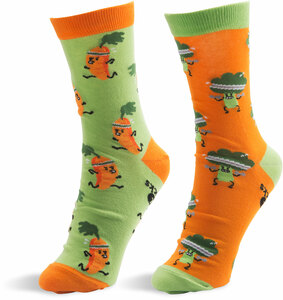 Carrot and Broccoli by Late Night Snacks - S/M Unisex Socks