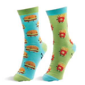 Cheeseburger and Fries by Late Night Snacks - S/M Unisex Socks