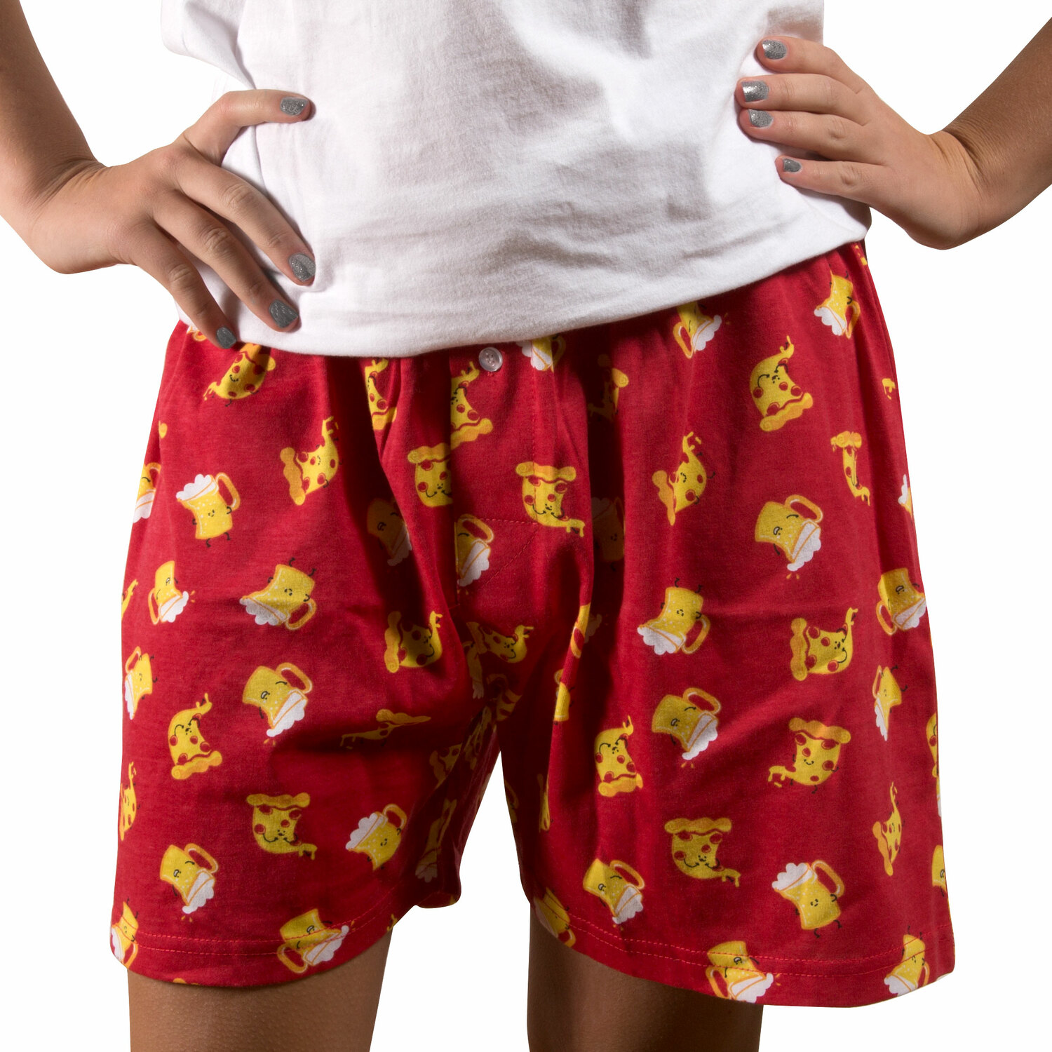 Beer and Pizza by Late Night Snacks - Beer and Pizza - XS Red Unisex Boxers