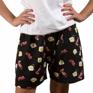 Bacon and Eggs by Late Night Snacks - M Black Unisex Boxers