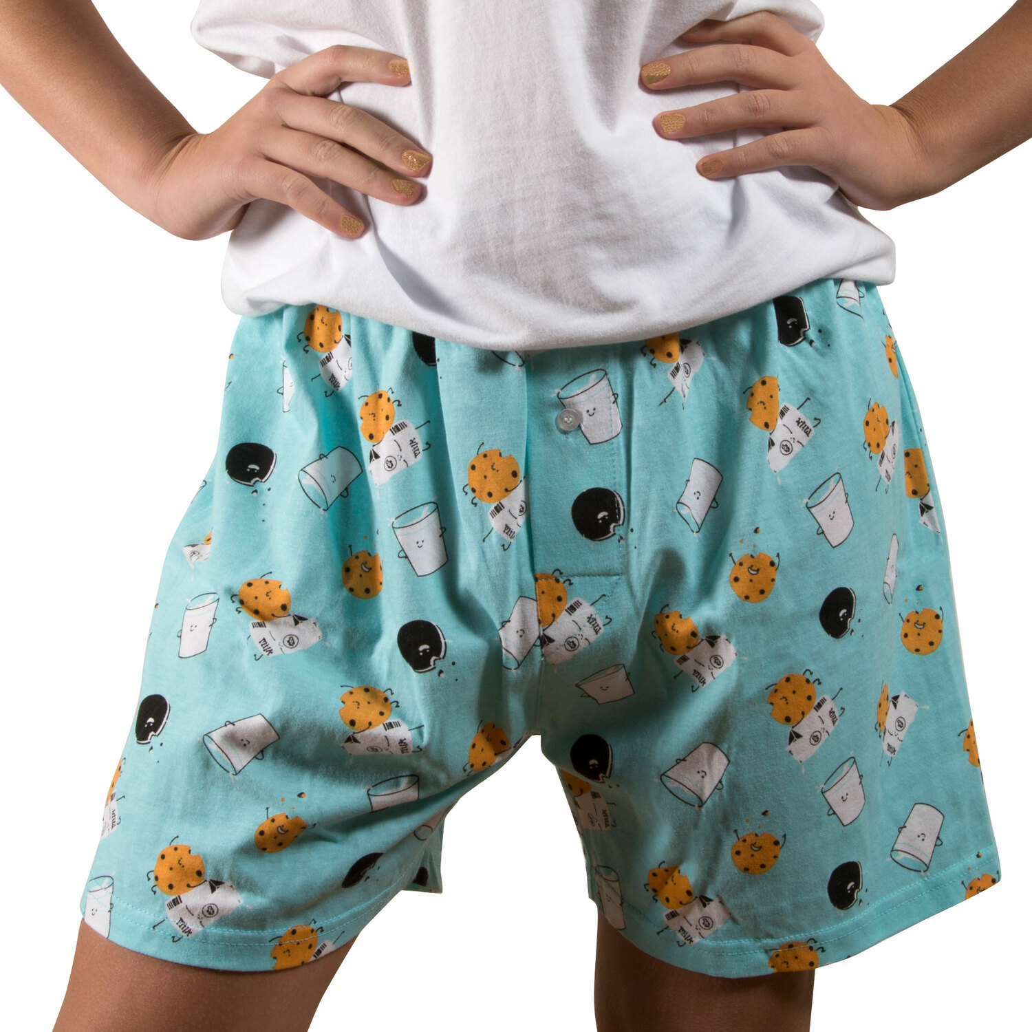 Milk and Cookies by Late Night Snacks - Milk and Cookies - XS Light Blue Unisex Boxers