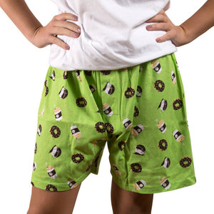 Coffee and Donut by Late Night Snacks - M Green Unisex Boxers