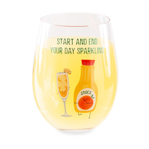Mimosa by Late Night Last Call - 18 oz Stemless Wine Glass