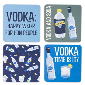 "Vodka & Soda by Late Night Last Call - 4"" (4 Piece) Coaster Set with Box"
