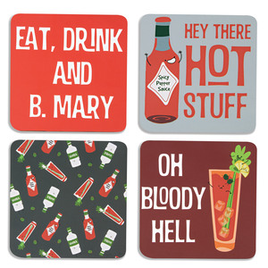 "Bloody Mary by Late Night Last Call - 4"" (4 Piece) Coaster Set with Box"