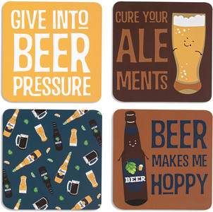 "Beer by Late Night Last Call - 4"" (4 Piece) Coaster Set with Box"