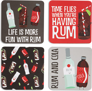 "Rum & Cola by Late Night Last Call - 4"" (4 Piece) Coaster Set with Box"